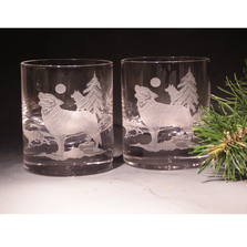 Wolf Etched Crystal 11 oz DOF Glass Set of 2 | Evergreen Crystal | ECNA-16620
