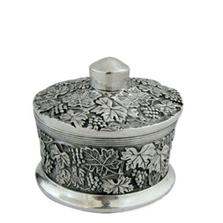 Botanical Leaf Sterling Silver Plated Round Jewelry Box | D'Argenta | U-306