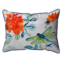 Dragonfly and Red Flower Indoor Outdoor Pillow 20x24 | Betsy Drake | BDZP1046