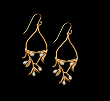 Night Willow Gold and Pearl Wire Earrings | Michael Michaud | SS3602V | Nature Jewelry
