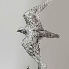 Falcon Pewter Figurine | Andy Schumann | SCHFalconSculp