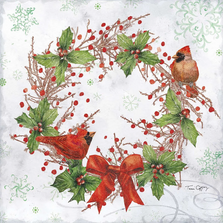 Cardinal Woodland Wreath Indoor Outdoor Pillow 18x18 | Magnolia House | MCWTC904LCS