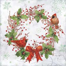 Cardinal Woodland Wreath Indoor Outdoor Pillow 18x18 | Magnolia House | MCWTC904LCS