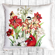 Holiday Birds and Flowers Indoor Outdoor Pillow 18x18 | Magnolia Casual | MCWMLT911LCS