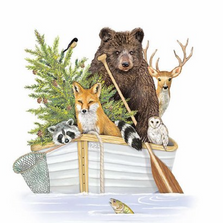 Bear in a Boat Indoor Outdoor Pillow 18x18 | Magnolia Casual | MCWMLT914LCS