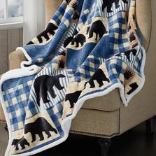 Black Bear Plaid Flannel Sherpa Throw Blanket | DTR10022