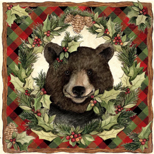 Plaid Forrest Bear 18x18 | Magnolia Casual | MCSW708LCS