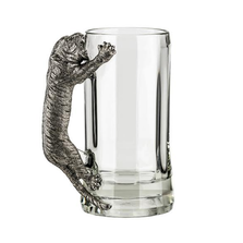 Fine Pewter Carved Tiger Beer Mug | Menagerie | MBM-E0991