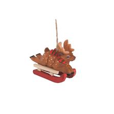Wooden Reindeer Sled Race Ornament   Gallerie II   ORN73827-1
