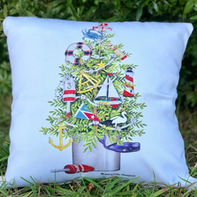 Coastal Christmas Tree Indoor Outdoor Pillow 18x18 | Magnolia Casual | MCMLT913LCS