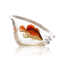 Coral Fish Orange Crystal Sculpture | 34297 | Mats Jonasson Maleras