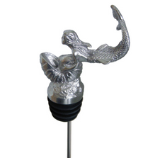 Stainless Steel Carved Mermaid and Shell Wine Pourer - Aerator | Menagerie | M-SSPM5-179