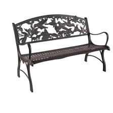 Hummingbird Cast Iron Garden Bench | Painted Sky | PSPB-HUM-100BR