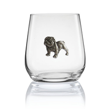 Bulldog Stemless Wine/Cognac Glass Set of 2 | Menagerie | M-SRWB2-076