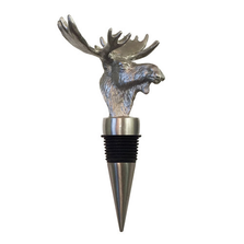 Carved Stainless Steel Moose Bottle Stopper | Menagerie | M-SSTM1-065
