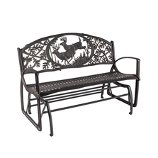 Buck Cast Iron Garden Glider Bench | Painted Sky | PSPDG-BK-GL