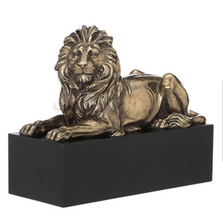Lion Laying on Plinth Sculpture | Unicorn Studios |  WUWU76538B4