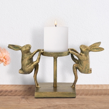 Dancing Rabbits Pillar Candleholder | 41002 | SPI Home