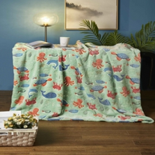 Sea Creatures Faux Fur Glow in the Dark Throw | DTR1148