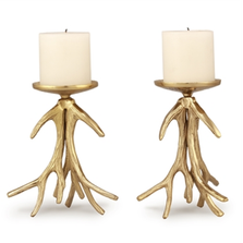 Antler Pillar Candleholder Set of 2 | 21050 | SPI Home