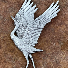 Dancing Crane Pewter Ornament | Andy Schumann | SCHDANCINCRANEORN