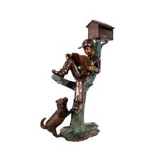 Boy on Log Mailbox with Dog | Metropolitan Galleries | SRB48649