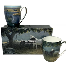Horses Bone China Mug Set of 2 | McIntosh Trading Horse Mug | Robert Bateman Horse Mug Set