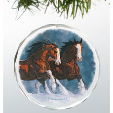 Clydesdales Crystal Ornament | Snow Kings | Wild Wings