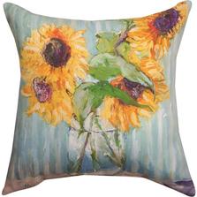Sunflower in Vase Indoor/Outdoor Pillow | Manual Woodworkers | SLVASE