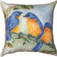 3 Bluebirds Indoor/Outdoor Pillow | Manual Woodworkers | SLS3BL