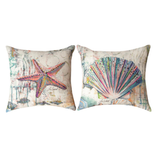 """Starfish and Shell Indoor Outdoor Throw Pillow """"Jewels of the Sea"""" 