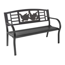 Chickens Outdoor Bench   Painted Sky   TSB-CK