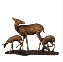 Doe and Two Fawns Life Size Bronze Outdoor Statue | Metropolitan Galleries | MGISRB10120