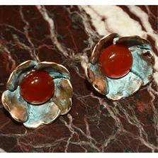 Sculptural Floral Earrings - Carnelian | Elaine Coyne Jewelry | ECFP316eCA