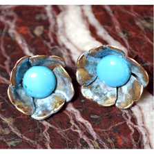 Sculptural Floral Earrings - Turquoise   Elaine Coyne  