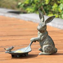 Rabbit and Leaf Bird Feeder | SPI Home | 33069N