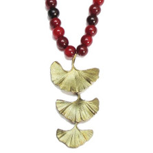 Red Horn Bead Gingko Necklace | Michael Michaud Jewelry | SS8168bzrh -2