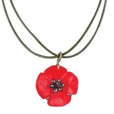 Red Poppy Adjustable Leather Necklace | Michael Michaud Jewelry | ss8833bzpk -2