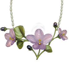 African Violet Necklace Pendant on Pearl | Michael Michaud Jewelry | SS8926BZPK -2