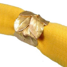 Bay Leaf Napkin Rings Set of 4  | Michael Michaud Table Art | TAnr9408ab