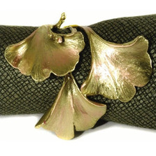 Gingko Napkin Rings Set of 4  | Michael Michaud Table Art | TAnr9410ab