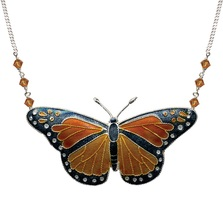 Monarch Butterfly Cloisonne Large Necklace | Bamboo Jewelry | bj0003ln