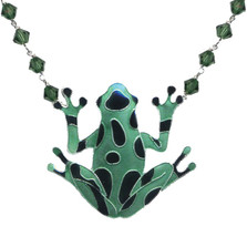 Green Frog Cloisonne Crystal Necklace | Bamboo Jewelry | BJ0009CYN