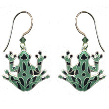 Green Frog Cloisonne Wire Earrings | Bamboo Jewelry | bj0009e