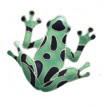 Green Frog Cloisonne Pin | Bamboo Jewelry | bj0009p