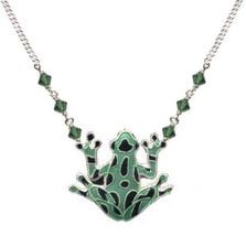 Green Frog Cloisonne Necklace | Bamboo Jewelry | bj0009sn
