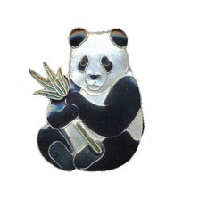 Panda with Bamboo Cloisonne Pin | Bamboo Jewelry | bj0021p