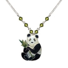 Panda with Bamboo Cloisonne Small Necklace | Bamboo Jewelry | bj0021sn