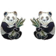Panda with Bamboo Cloisonne Post Earrings | Bamboo Jewelry | bj0021sppe