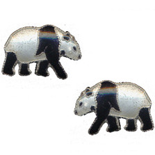 Walking Panda Cloisonne Post Earrings | Bamboo Jewelry | bj0023pe